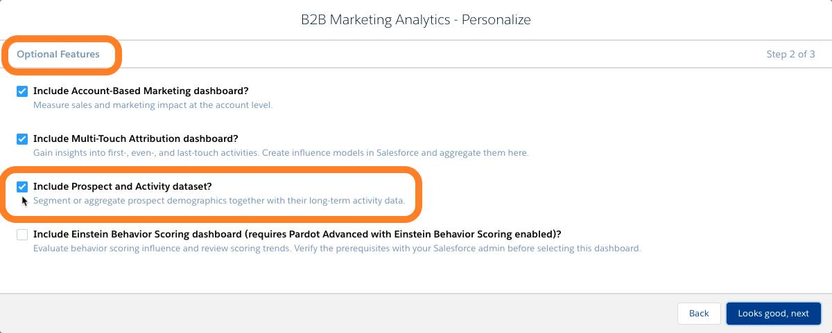 Adding the Prospect and Activity Dataset during B2B Marketing Analytics app set up