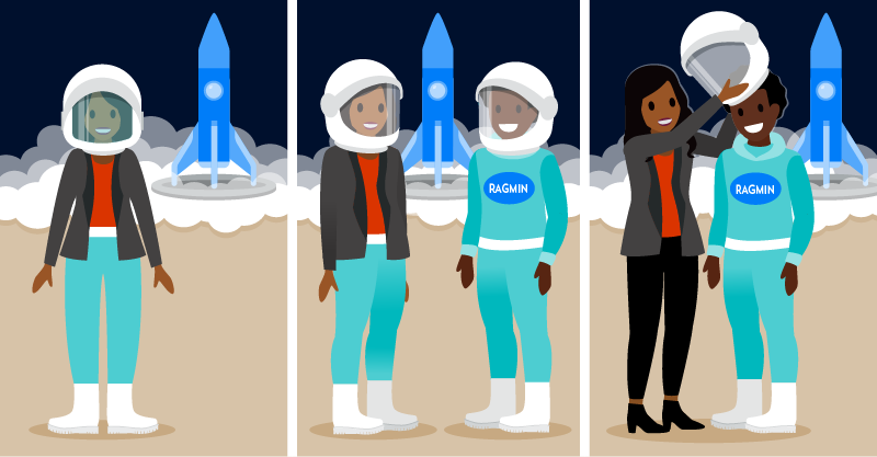 Left frame is the partner as an astronaut. Center frame is the partner and customer as astronauts. Right frame is the partner advising the customer to be the astronaut.