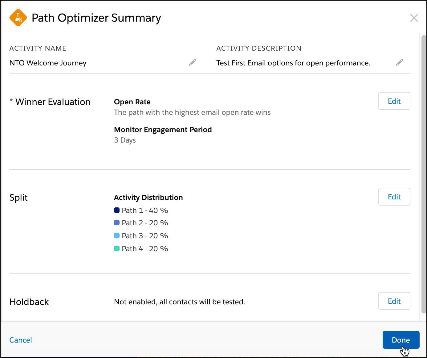 Path Optimizer Summary screen.