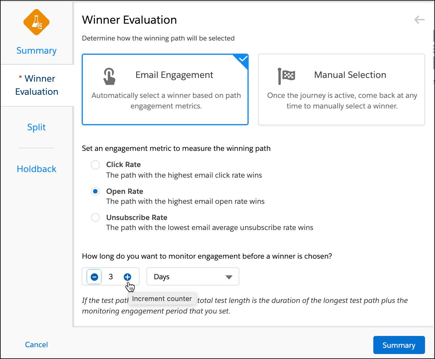 Winner Evaluation screen with email engagement selected using open rate and a test duration of 3 days.