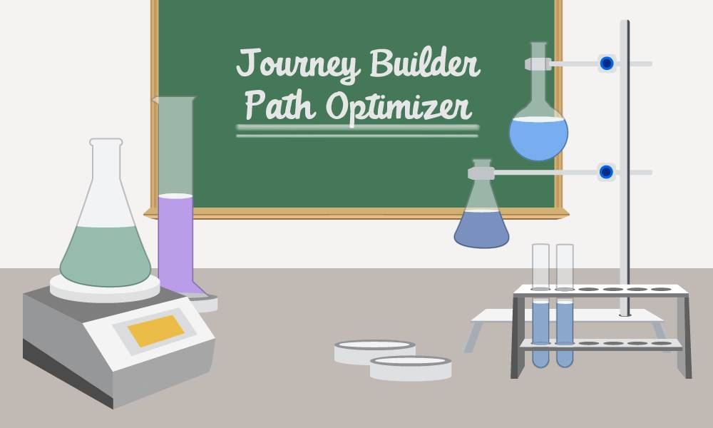 Journey Builder Path Optimizer written on a chalkboard, along with images of beakers and test tubes.