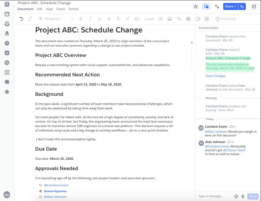 Document de plan de projet dans Quip, montrant l'aperçu du projet, la prochaine étape proposée, la date d'échéance et les approbations nécessaires
