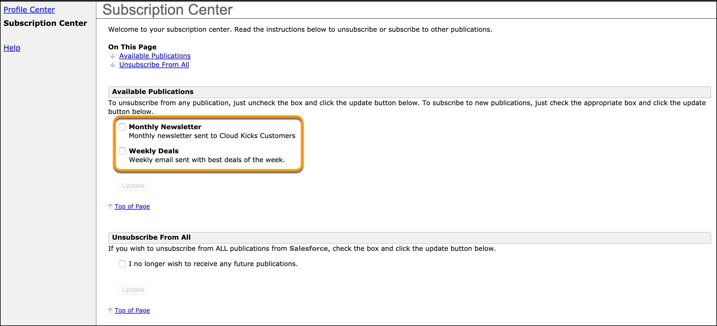 Subscription Center example with callouts for specific publication lists.