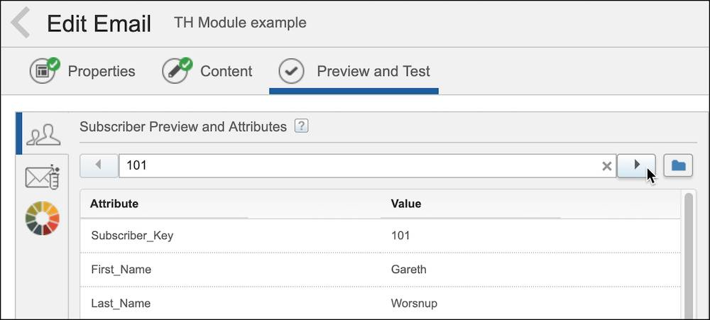 A screenshot of the Preview and Test tab in Content Builder.
