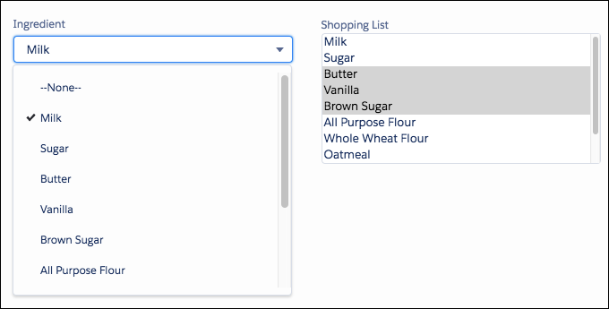 An Ingredient field and a Shopping List field using the same values