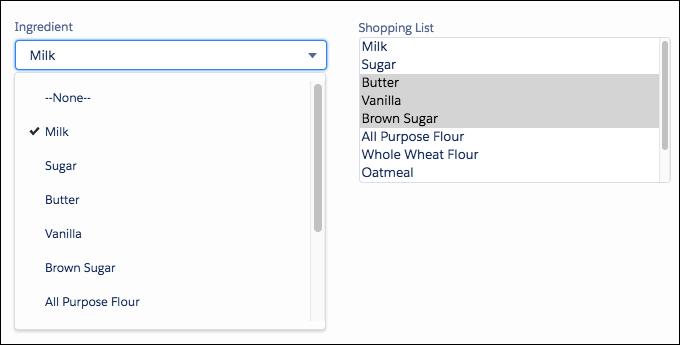 Um campo de ingrediente e um campo de lista de compras usando os mesmos valores