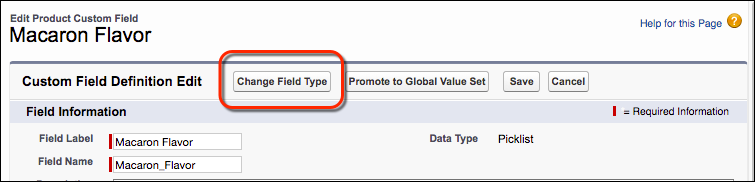 Change Field Type button on the picklist field Edit page