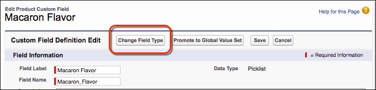 Botão Alterar tipo de campo na página de edição do campo Lista de opções