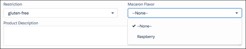 グルテンフリー制限を選択すると、マカロンのフレーバー値が絞り込まれます