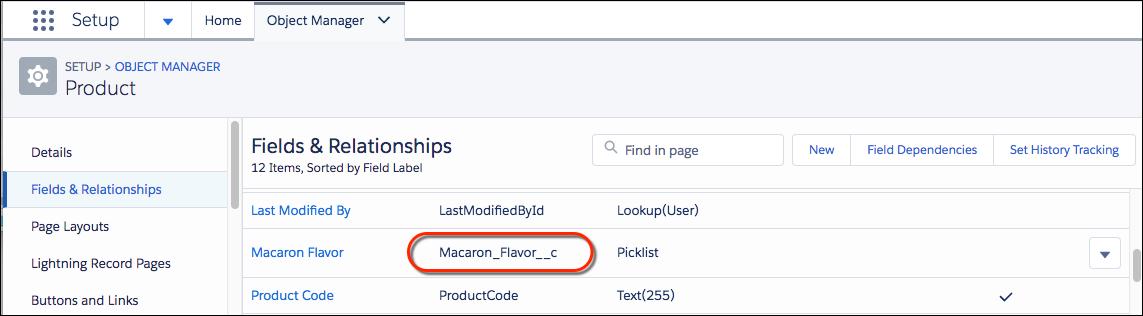 Detalhe do nome do campo Lista de opções personalizado