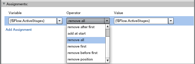 Assignment screen showing the $Flow.ActiveStages system variable in the Variable and Value fields with a remove all Operator.