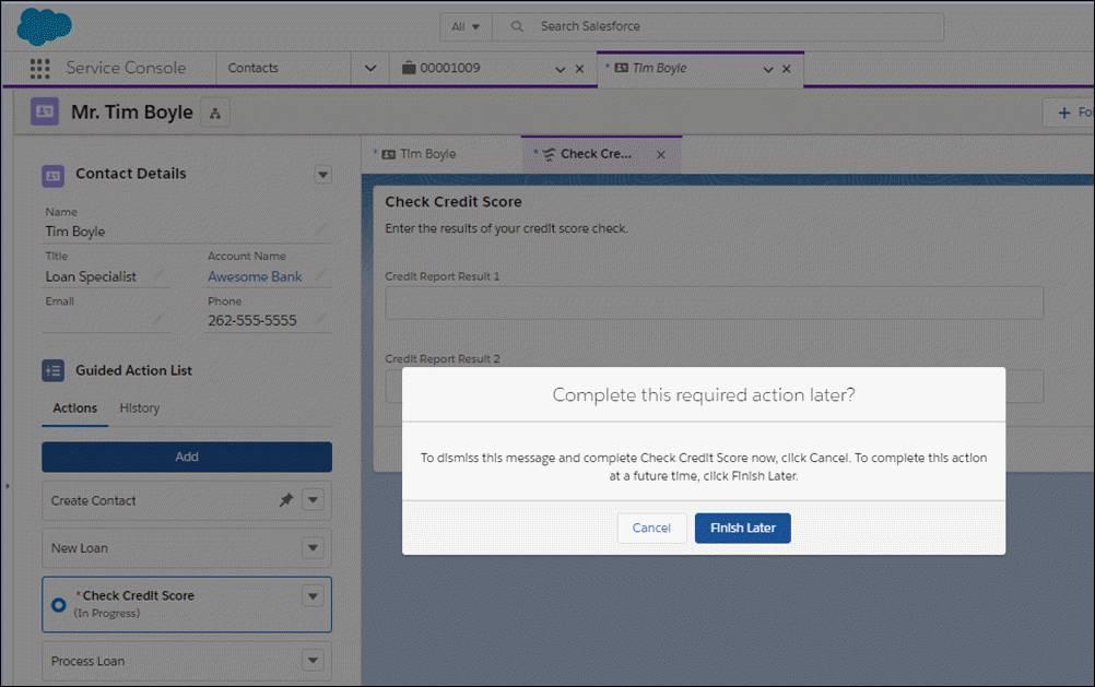 ユーザが必須アクションを閉じようとすると、メッセージが表示されます。