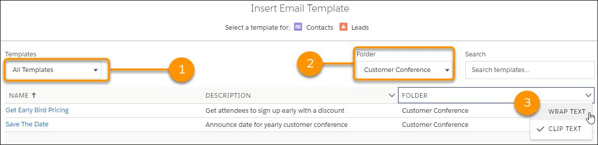 Insert an email template