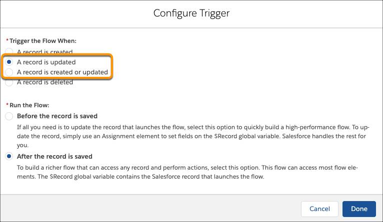 The Configure Trigger screen, highlighting trigger options A record is updated, and A record is created or updated