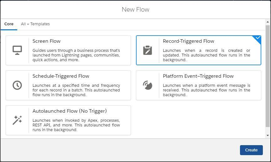New Flow window, with Record-Trigger Flow selected