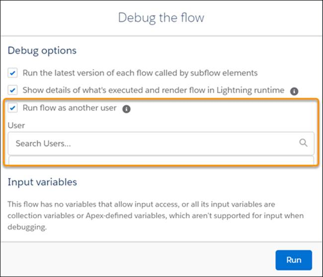The Debug the flow modal, with the Run flow as another user checkbox selected.