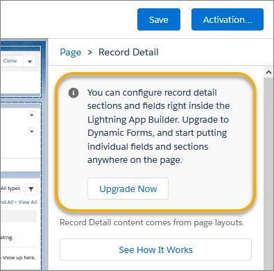 Dynamic Forms upgrade button in Lightning App Builder