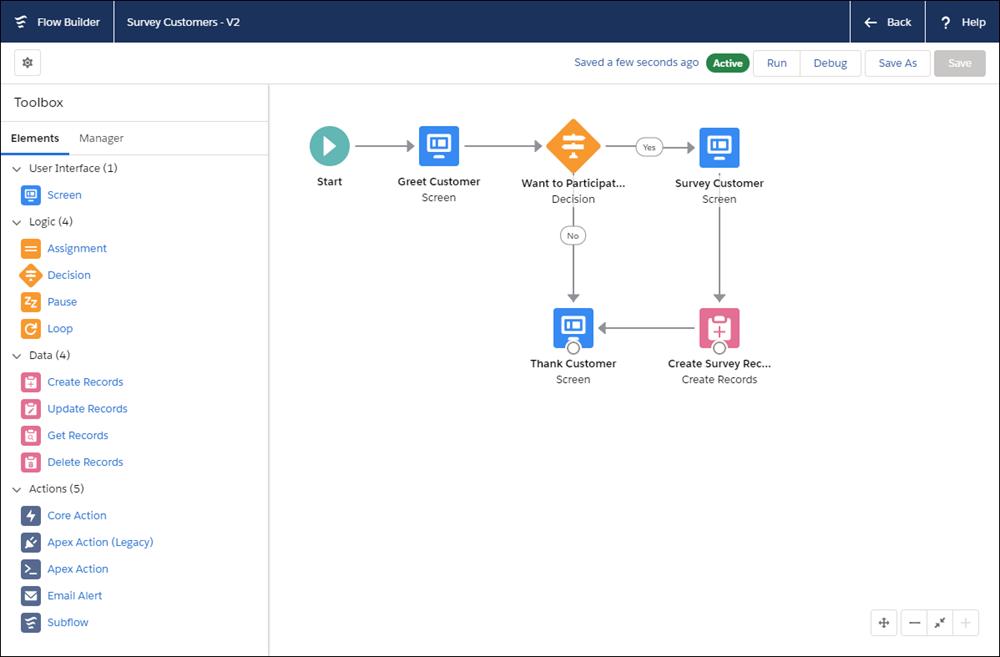 Flow Builder ユーザインターフェース