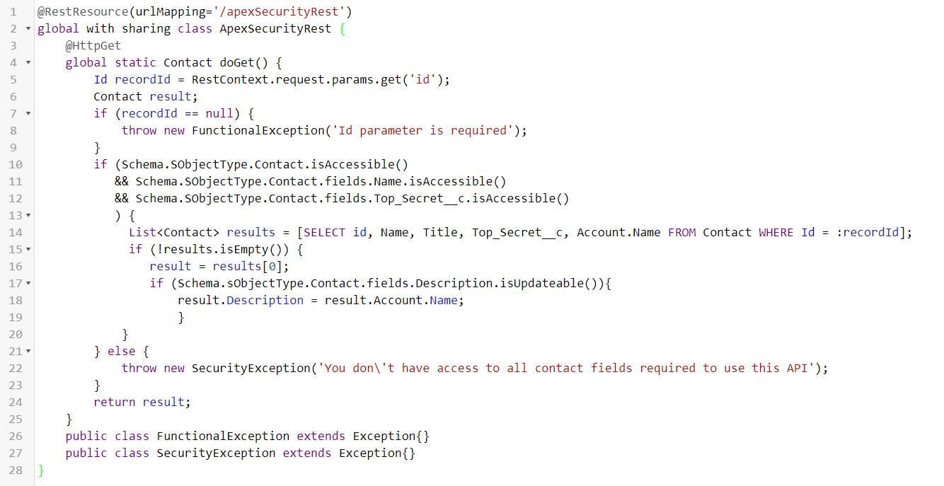 ApexSecurityRest コードブロックの複製スクリーンショットビュー