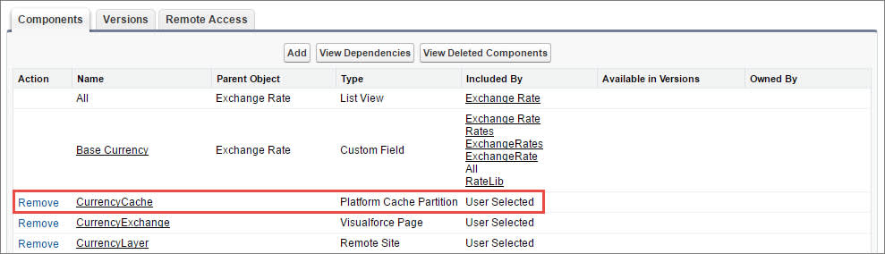 Eine Liste mit Paketkomponenten, die eine Cache-Partition enthalten