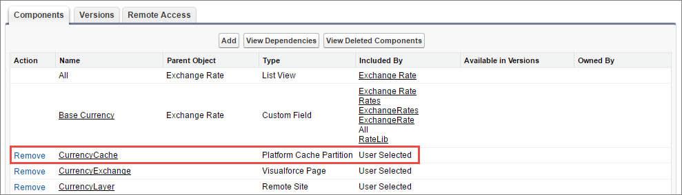 キャッシュパーティションが含まれるパッケージコンポーネントのリスト