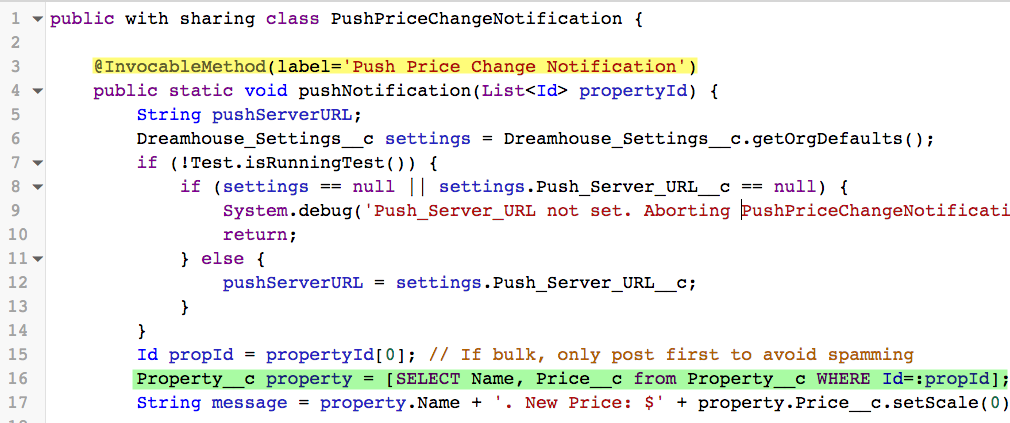 The PushPriceChangeNotification Apex class