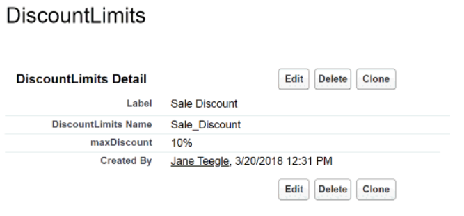 The Discount Limits field is set to use the maximum discount of 10%.