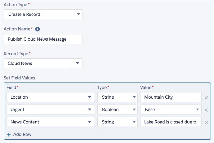 プロセスビルダーの [レコードを作成] アクションが Cloud News レコードタイプに設定されています。Cloud News イベントの各項目は入力されています。