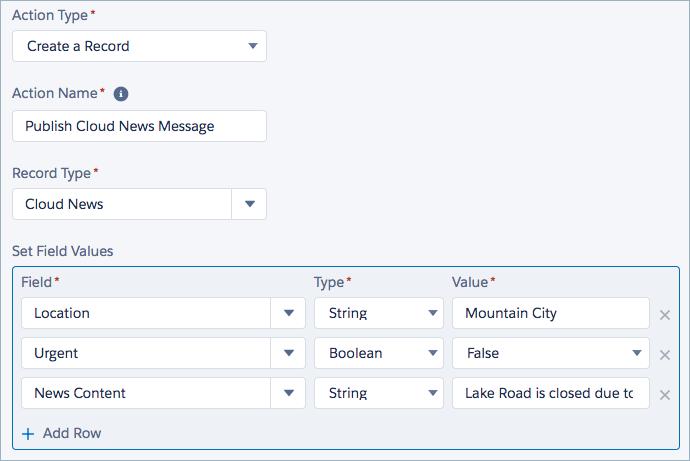 A ação Criar um registro no Process Builder é definida para o tipo de registro Cloud News. Os campos do evento Cloud News são preenchidos.