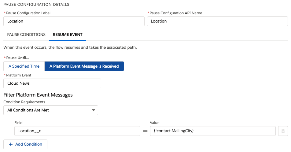 Pause configuration in Flow Builder
