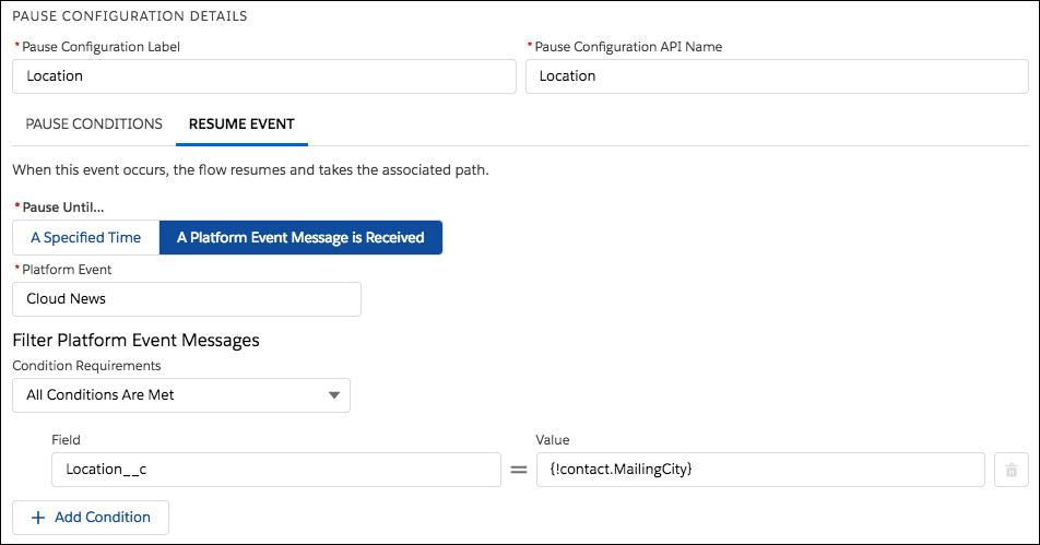 Configuração de pausa no Flow Builder