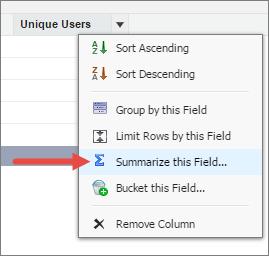"""Haga clic en """"Resumir este campo"""" para hacer un conteo del número único de usuarios."""