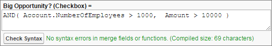 Una fórmula utilizando la función lógica AND().