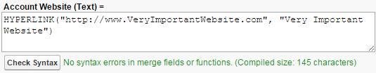 """ハイパーリンク数式。 Account Website (Text)= HYPERLINK(""""http://www.VeryImportantWebsite.com"""", """"Very Important Website"""")"""