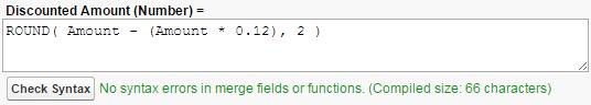 ROUND() 関数を含む数式