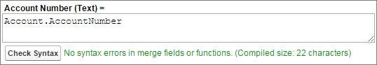 A fórmula de Contato de objetos cruzados. Número da conta (texto) = Account.AccountNumber