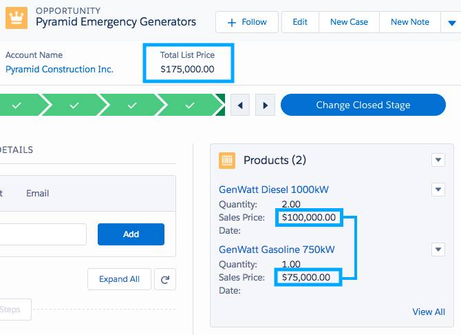 Example of rolling up the product total for an opportunity.