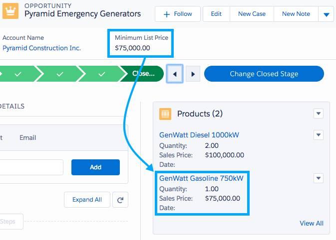 Exemplo de totalização do preço mínimo do produto de uma oportunidade.