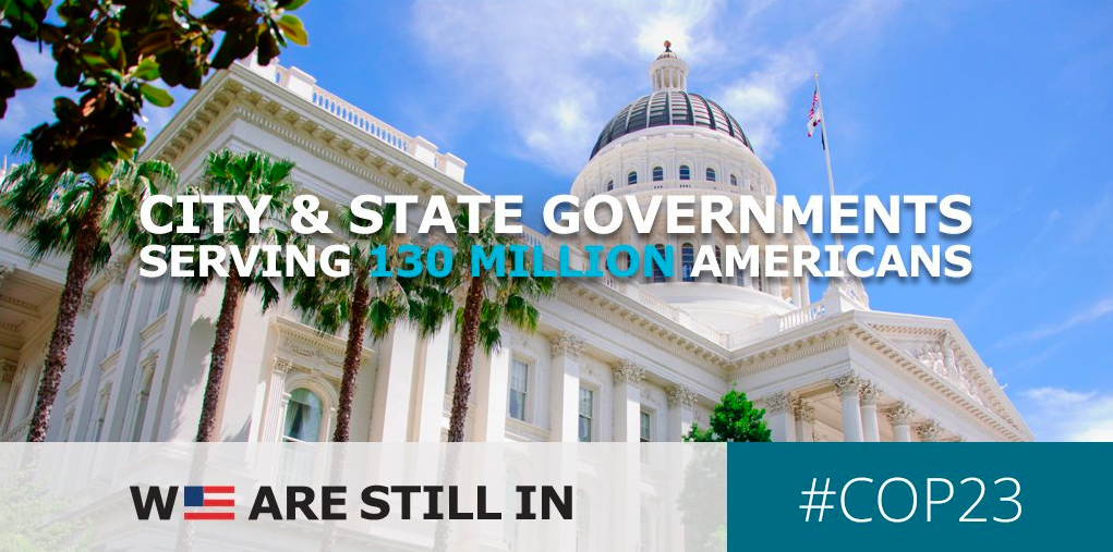 City and state governments pledging We are Still In together represent 130 million Americans.