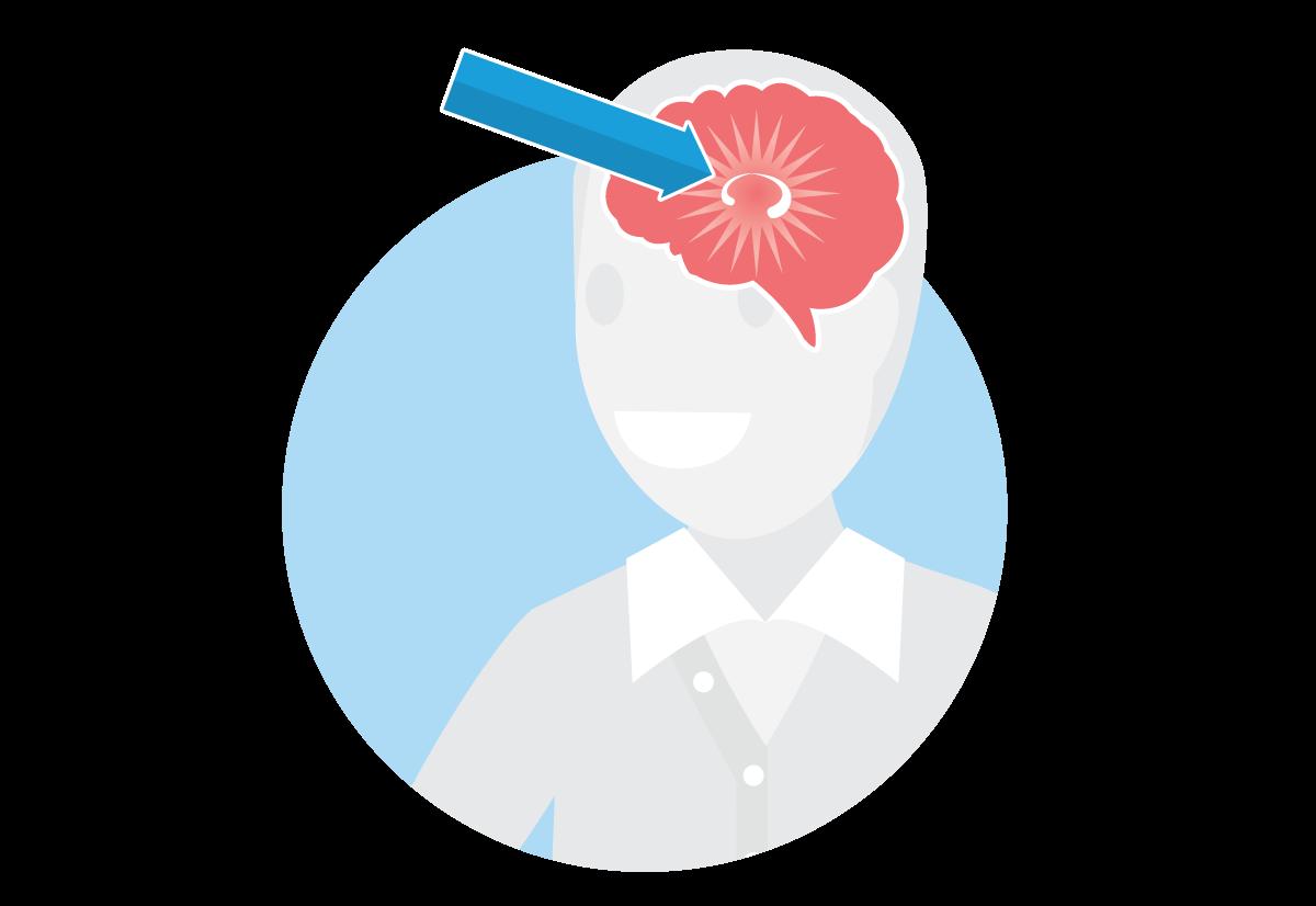 Image d'un cerveau avec une flèche pointant vers l'hippocampe.