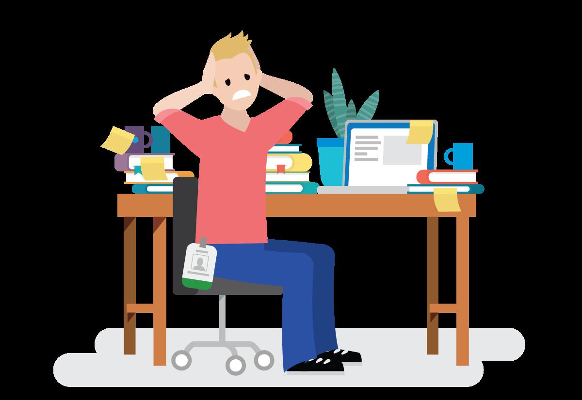 Habitant du pays Salesforce stressé au travail.