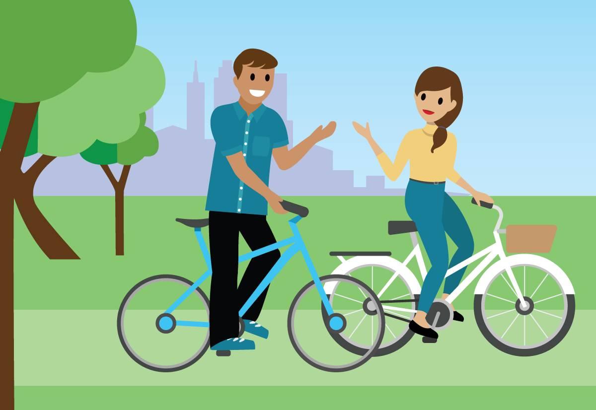 Habitants du pays Salesforce en train de faire du vélo.