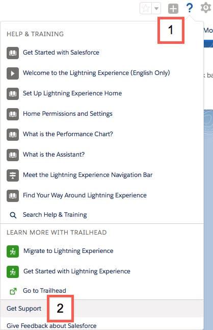 Eingeblendetes Hilfemenü auf der Lightning-Benutzeroberfläche mit hervorgehobenem Menüpunkt 'Unterstützung erhalten'