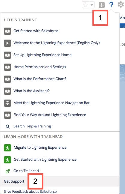 """Menu de ajuda expandido na interface do Lightning, com a opção de menu """"Obter suporte"""" em destaque"""