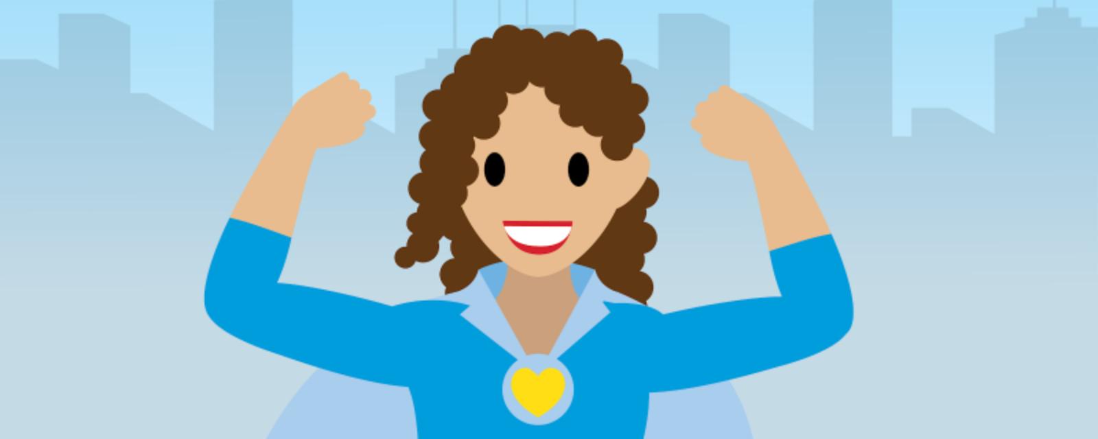 Illustration einer Frau, die ein Cape trägt und über eine Stadt fliegt.
