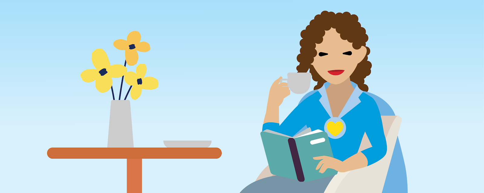 Illustration of a woman sitting in a chair, drinking coffee and reading a book.