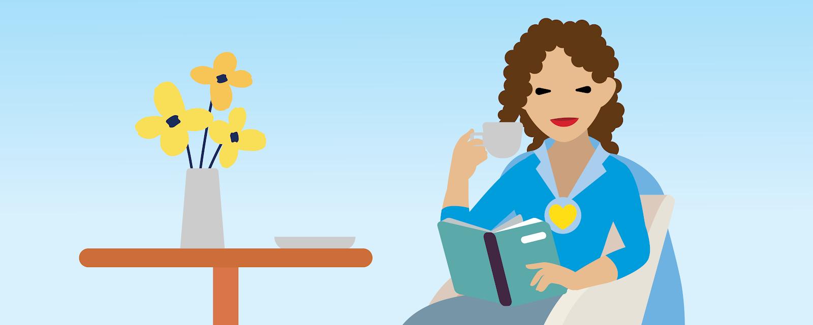Ilustração de uma mulher sentada em uma cadeira enquanto aprecia um café e lê seu livro.