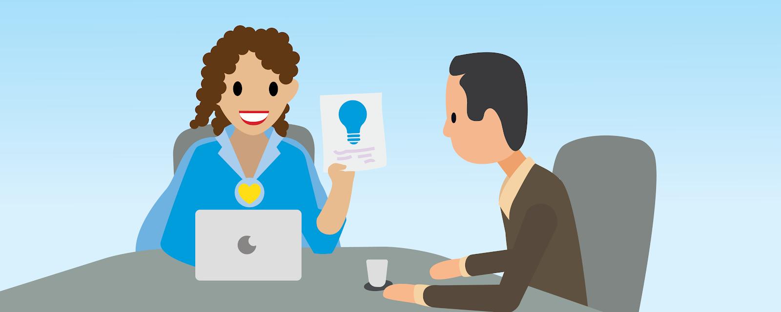 Ilustração de uma mulher que mostra um pedaço de papel a um homem.