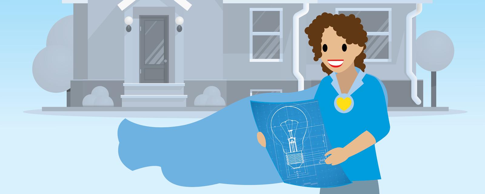 Illustration d'une femme portant une cape et regardant un plan avec une maison en arrière-plan.