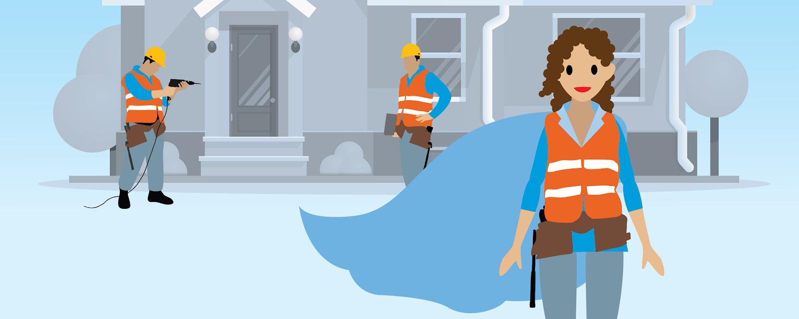 Une femme portant une cape devant une maison et deux ouvriers du bâtiment.